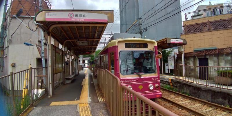 飛鳥山駅に停車する赤色の都電荒川線