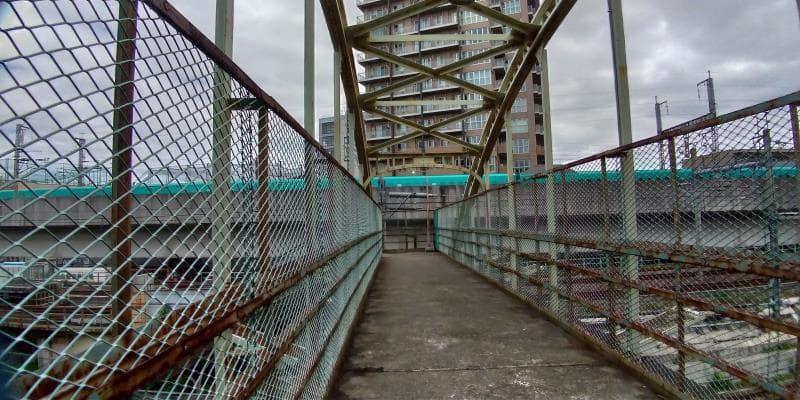 鉄橋の先の高架を新幹線が駆け巡る