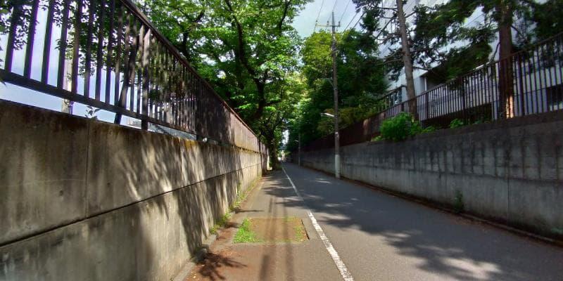 学校沿いの塀に沿った道路
