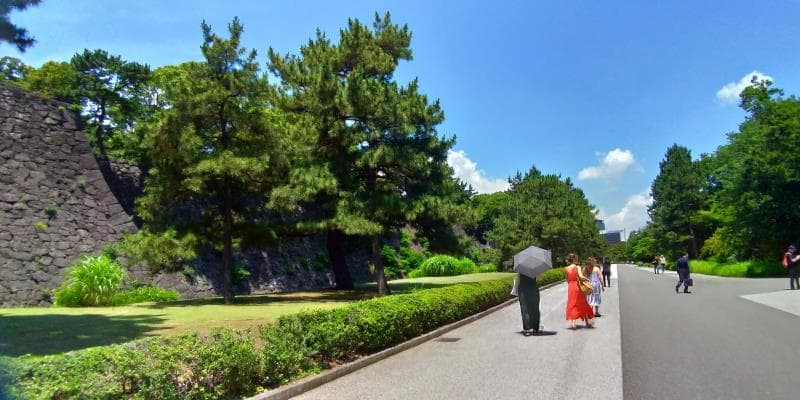 石垣に平行して伸びる広い園路