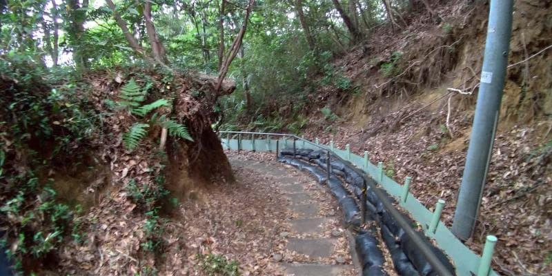 崖が切り立つ小道