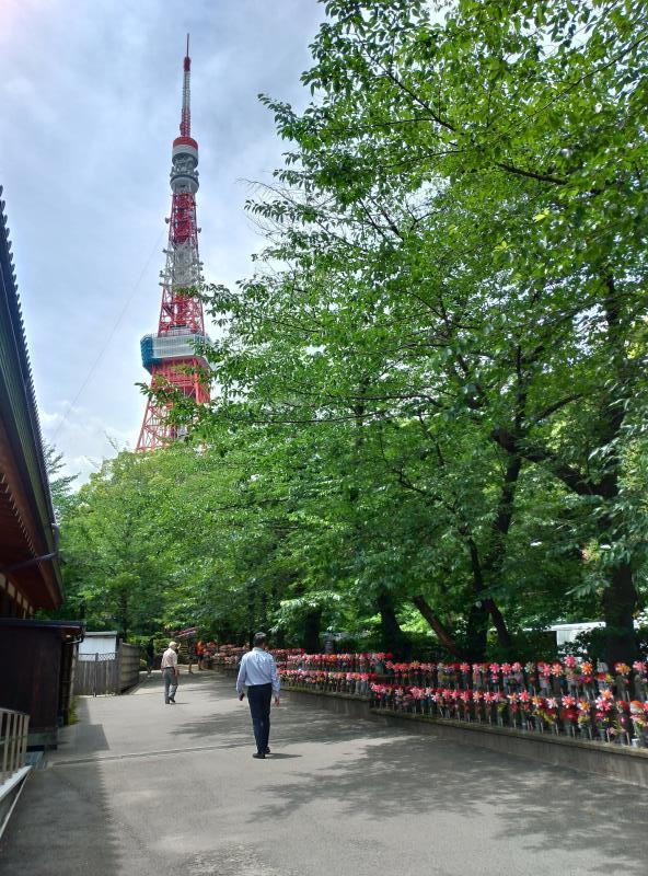 たくさん並んだお地蔵様と東京タワー