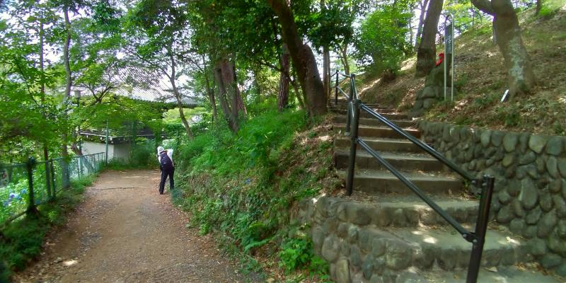 左手は下への道、右手は上に続く階段