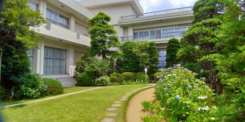 茶庭の後ろにあるコンクリート製の建物